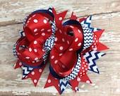 Navy Chevron and Red Dots Hair Bow, Nautical, School Bow, Birthday Bow, Baby Headband, Infant Headband, Newborn Headband, Baby & Toddler