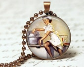 NURSE Pendant Sexy Pin up Art - Round - Elvgren Vintage Illustration