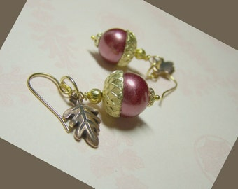 Acorn Earrings - Pearls Oak Leaf - Acorns - Leaves - Gold and Copper - Marsala - Cranberry - Autumn and Winter Earrings