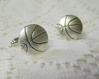 Basketball Cuff Links - Silver - Hoops - Coach - Sports cufflinks
