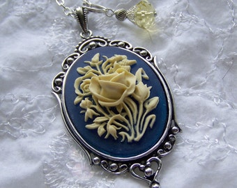 Rose Cameo  Pendant - Ivory Rose Navy Blue - Floral Bouquet Necklace