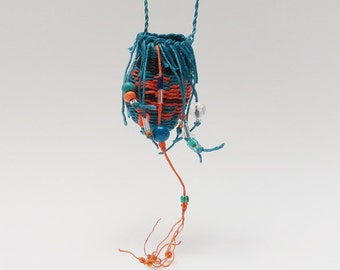 Woven Wishing Pouch Necklace, Fringy and Beaded, Blue and Orange, Aquamarine Coral WLP13