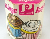 Free Shipping, Pastel Paper Cupcake Muffin Liners, Cake Cases, Baking Cups, Vintage Kitchen Display, Retro 1970's