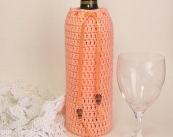 Wine Bottle Bag Peach Cozy Reusable Gift Sack Apricot Ribbon Hostess Present Hand Crocheted