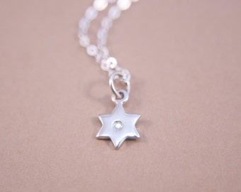 Star of David Necklace Sterling Silver with Diamond