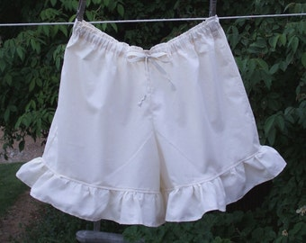 Womens Short BLOOMERS Pantaloons XS - XLg Fabric Ruffle Cotton Custom Made