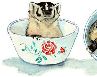 Badgers in Rose Bowls Watercolor Illustrated Art Print