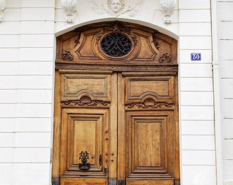 Paris Door Photograph, Caramel Brown Door, Paris Decor, Rustic Travel Decor, Carved Angel, Cottage Chic France Fine Art Print - No. 30