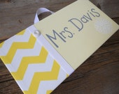 Custom boys' room sign in grey white and lime green stripe