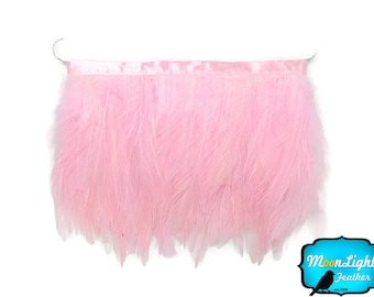 Rooster Trim, 1 Yard - LIGHT PINK Rooster Neck Hackle Feather Trim : 3181
