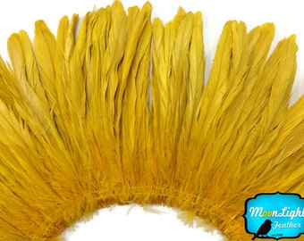 Rooster Tail Feathers, 2.5  Inch Strip - GOLD Strung Natural Bleach Coque Tails Feathers: 280