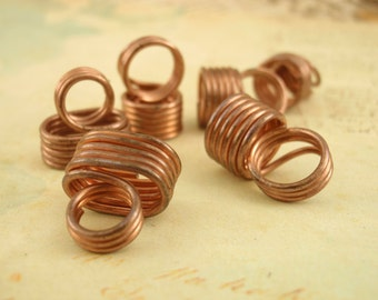 2 Handmade Wire Wrapped End Caps - You PICK Metal and Size - Perfect for Licorice Leather - Copper, Brass, Stainless Steel, 14kt Gold Fill