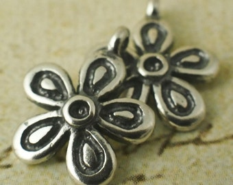 2 Antique Sterling Silver Flower Charms - 10mm - With Handmade Jump Rings - 100% Guarantee