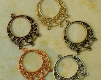 SALE 2 - Plated Brass Filigree Chandelier Links- Circles and Hearts - Antique Copper, Bright Copper, Antique Silver, Gold Plate