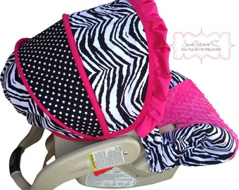 Infant Car Seat Cover Zebra with Hot Pink