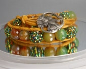 Boho Leather Wrap beaded bracelet suede semiprecious beads rhine stones fall autumn colors banded agate leather art deco