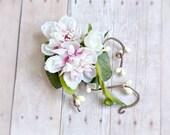 Pink hair clip, woodland berry clip, floral hair clip, wedding hair accessory - Fleurette
