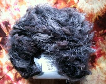 Foggy Night Onda Mohair Blend Black Grey Eyelash Tuft Yarn Ice 31249