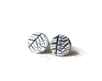 Small disc stud earrings, leaf textured silver and antiqued, minimalist jewelry, gardeners gift