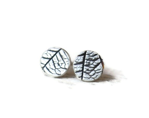 Small disc stud earrings, leaf textured silver and antiqued