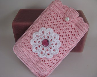 Best Buddy Pouch in Pink and White and fully lined
