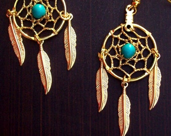 Gold Dream catcher earrings with blue-green / Teal Turquoise, dreamcatcher earrings with turquoise in gold or silver