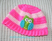 Cheerful Owl baby hat -- 6-12 months