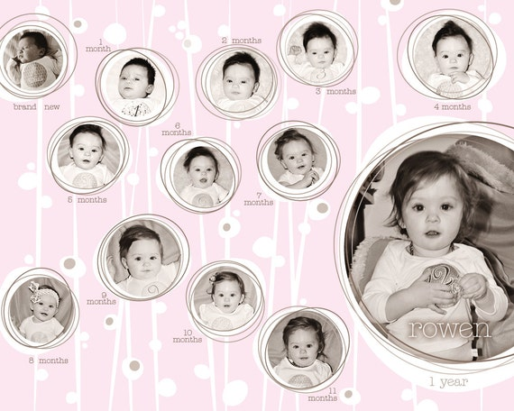 PRINT YOUR OWN Baby's First Year photo collage (girl)