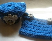 Hand Crochet Police Officer  Diaper Cover and Hat  Set