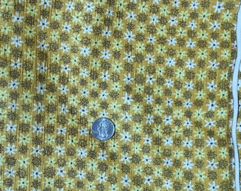 Vintage Fabric  Cotton  with Yellow and White Daisys and Black Flower  on Gold 2 and a Half Yards Mod Flower Power