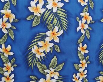 Marianne of Maui Hawaiian Quilting Fabric Deep Royal Blue with Plumeria Leis