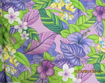 Marianne of Maui Hawaiian Quilting Fabric Lavender with White and Purple  Flowers LAST TWO YARDS