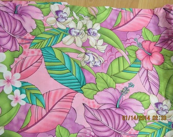 Marianne of Maui Hawaiian Quilting Fabric Pink with White Flowers NEW ARRIVAL
