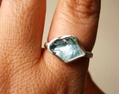 Custom Rough Aquamarine ring - Sterling silver - Choose your Gemstone and ring size - UPDATED NEW GEMSTONES!