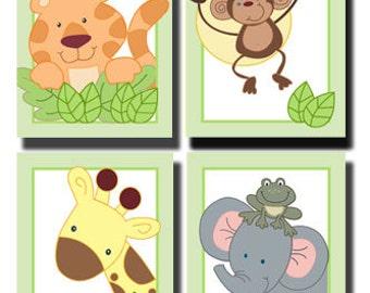 Jungle Safari Nursery Art Prints, Ready to frame. Tiger, Monkey, Giraffe, Elephant and Frog - choose size!
