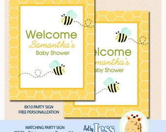 Bumble Bees Baby Shower Party Sign, Personalized 8x10, Digital File You Print