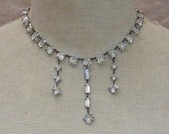 1900s Bezel Set Sterling Silver Necklace