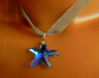 Blue Crystal Star Necklace Gift Boxed