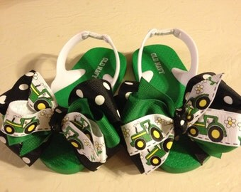 Toddler Girl's size 6 Flip Flops with Green Tractor Bows