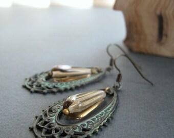 Vintage Filigree Earrings, Dangle Hoop Earrings Lace, Verdigris Earrings Smokey Brown -- CHANTILLY
