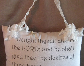 Promise Pillow, Graphic Pillow, Hanging Pillow, Scrunchy Ribbon, Psalm 37:4