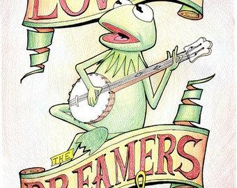 Kermit the Frog The Lovers the Dreamers and Me Rainbow Connection Art Print