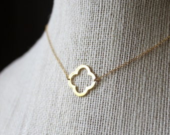 Simple Gold Quatrefoil Necklace,14k Gold Filled Chain, Gold Necklace,