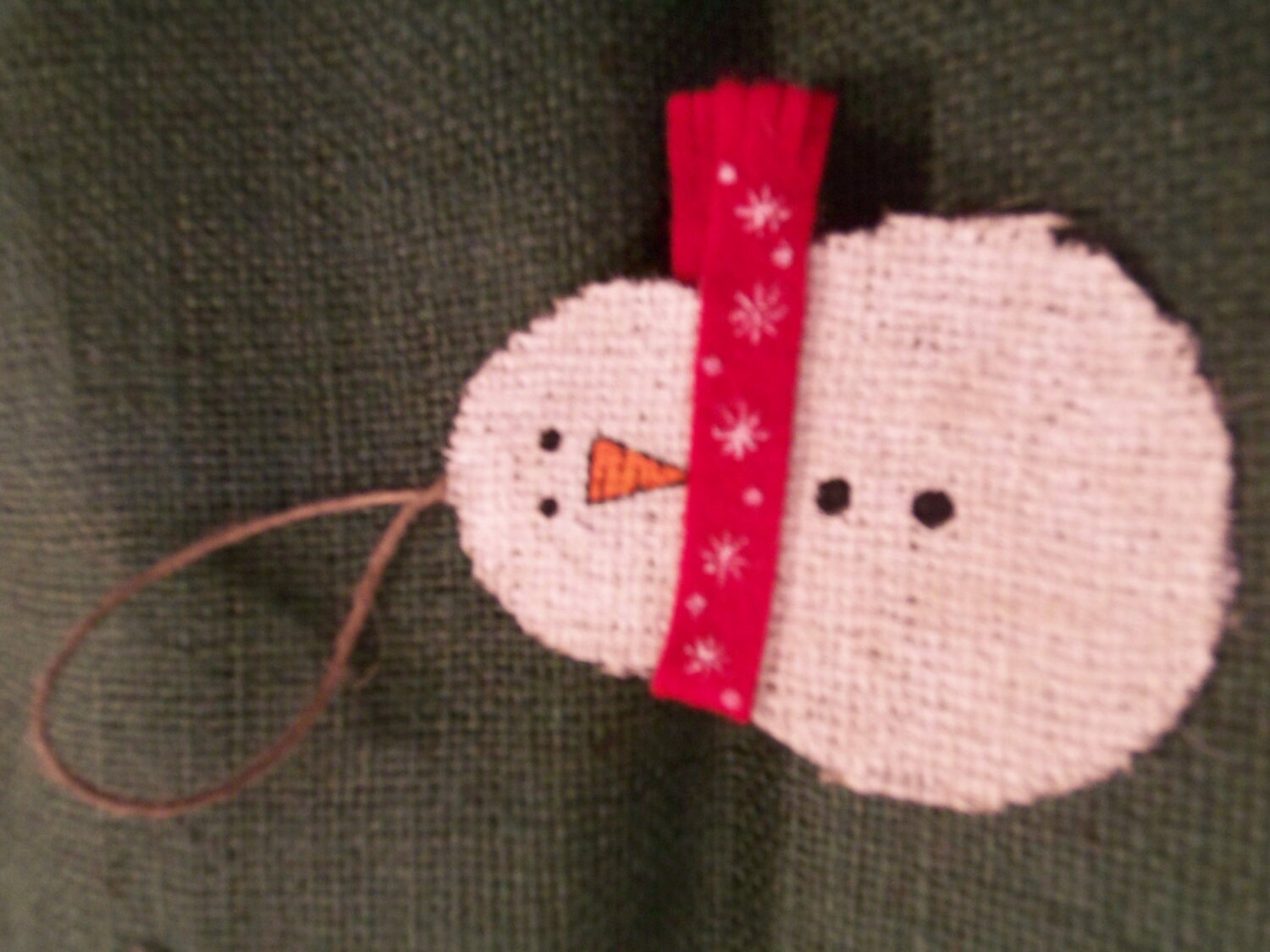 Burlap snowman christmas handmade ornament too by for Snowman made out of burlap