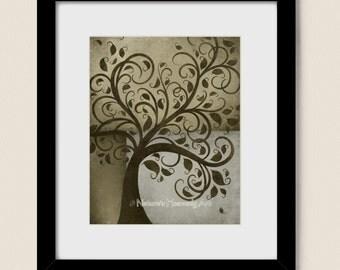 8 x 10 Rustic Wall Art Tree Print, Natural Brown Green Home Decor, Earth Tones Gray, Square Shapes (223)