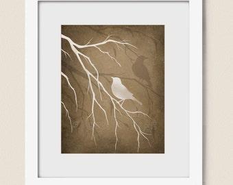 8 x 10 Living Room Wall Art, Tree Branch and Bird Art Print, Natural Colors Brown Tan Home Decor (247)