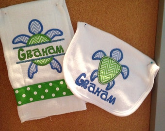 Personalized Seaturtle Monogrammed Bib and Burp Cloth Set Shower Gift Embroidered