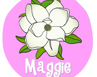 Personalized Magnolia Flower Design Baby Bodysuit or Toddler Tee - Available in various colors and sizes