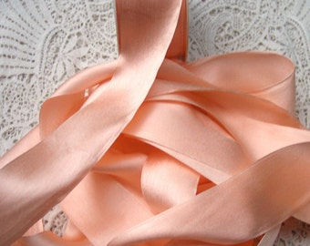 Pure Silk Satin  Ribbon Misty/Peach  Color 1 1/2 inch wide 3 yds