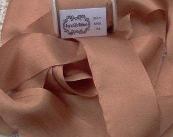 Pure Silk Ribbon Bronze  Color 1 1/2 inch  36mm wide 5 yards